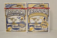 2 Decks Blue Gold Triumph Playing Card Standard/ Poker Size Linen Finish Casino