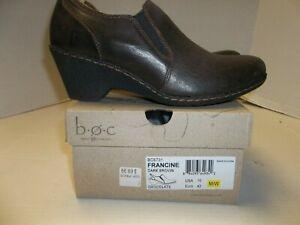 "NIB Womens Size 10M b.o.c. Born Concept ""Francine"" Brown Leather Wedge Heel Loaf"