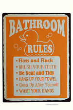 Vintage-Style Metal Bath Bathroom Rules  Wall Door Plaque Sign