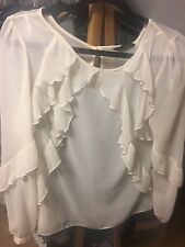 Cream Chiffon Blouse with frill. Size 16 long sleeve