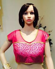 """36-38"""" Small Saree Blouse Indian Bollywood Designer Sari Choli Pink Gold T3"""