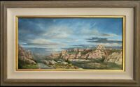 Southwestern Landscape, Original Framed Oil Painting by Pat Durgin 12x24