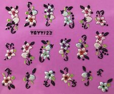 Nail Art 3D Decal Stickers Pearlescent Flowers with Flower Buds YGYY123