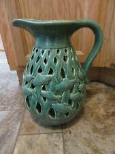 Fish Pitcher ,Green,Pierced design,Used.11 1/4 in.high.Decorative use only.