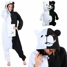 Anime Danganronpa Monokuma Cosplay Pajamas Black & White Bear Sleepwear Unisex