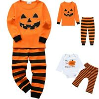 0-7Y Halloween Children Kids Boys Girls Pumpkin Print Top+Trouser Pajamas Outfit