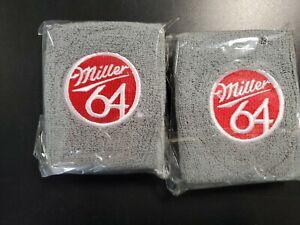 2 Miller Beer 64 MGD Sweat Wrist Band GRAY With Red & White Logo NIP Pair (2)