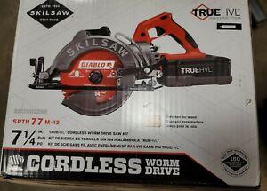 """Skilsaw SPTH77M-12 7-1/4"""" TRUEHVL Cordless Worm Drive Saw Kit w/Batt+Charger New"""
