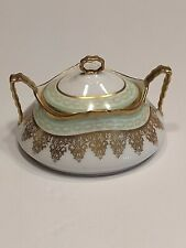 Antique Old Abbey Limoges France Extravagant Gold Decorated Sugar Bowl And Lid