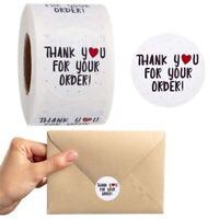 "500Pcs/Rolls ""Thank You"" Craft Packaging Seals Kraft Sealing Sticker Label New"