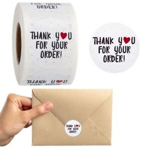 "500Pcs/Rolls ""Thank You"" Craft Packaging Seals Kraft Sealing Sticker Label EN"