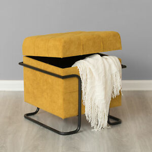 New Bold Tones Square Fabric Storage Ottoman with Black Metal Frame Submit