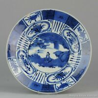 17/18C Japanese Porcelain Plate Kraak Arita Landscape Figure Compartment Antique