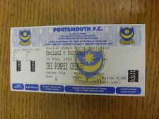 24/02/2002 Ticket: England Women v Portugal Women [At Portsmouth] Complete Adult