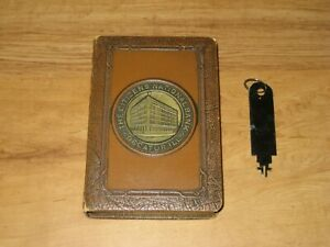 Vintage Book Coin Bank-The Citizens National Bank-Decatur,IL-With Key
