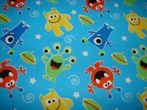 Multi-Colour Monsters Blue Flannelette Blanket Handmade 90c x100cm