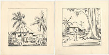 Two Pen & Ink Drawings of South Seas or Tropical Native Villages, Houses, People