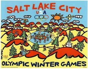 """2002  Salt Lake City Winter Olympic Poster Size:18"""" x 24"""" Mint Condition"""