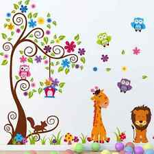 Beautiful tree Cute Animals Owl and Colorful Flower Removable Vinyl Wall Sticker