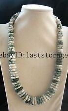 """green grass stone roundel 8-20mm necklace 20"""" nature wholesale nature beads"""