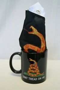 Black Gadsden Dont Tread on Me12 oz Ceramic Mug w/ 12x18 tea party flag