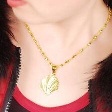 "Fashion 24K Gold Plated Flower Fan Wing Pendant lady Chain Necklace 18"" GJP156"