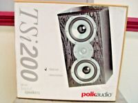 Polk Audio TSI200 Black Bookshelf Stereo Main Home Theater Speakers Pair TSI 200