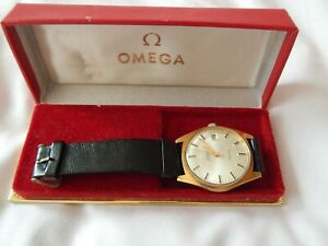 Vintage Omega geneve Automatic Date Gents Watch With Box Gold Plated