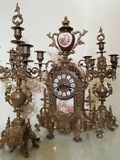 FRENCH IMPERIAL STYLE BRASS & PORCELAIN MANTEL CLOCK GARNITURE by Franz Hermle