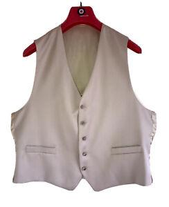 "New TORRE Cerimonia Pure Wool Premium Formal Waistcoat 44""R EU54 Sand Beige Nude"