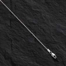 """14k 16"""" White Gold 1.5mm Shiny Bead Chain with Lobster Clasp 3.2 grams"""