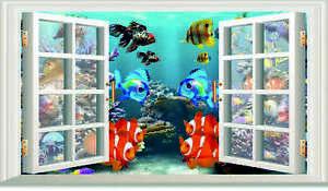 3D OPEN WINDOW TROPICAL FISH BATHROOM WALL ART STICKER  RV CAMPER DECAL 3 SIZES