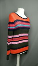 Topshop Size 12 Striped Jumper Bright Orange Navy Purple Thin Knit Ribbed