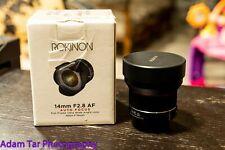 Rokinon 14mm f2.8 AF for Nikon w Boc, manuals, case