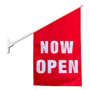 2 x Now Open Flags / End Sign Wall Mount banners / Advertising Sign Flags