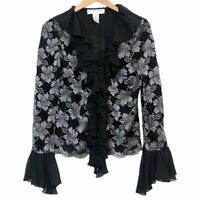 VICTOR COSTA Black Silver Floral Flower Lace Ruffle Long Sleeve Button Top Small