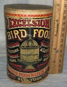 ANTIQUE EXCELSIOR BIRD FOOD SEED CAGE ROSENSTEIN NEW YORK VET MEDICINE CANARY