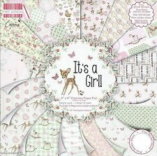IT'S A GIRL Baby Dovecraft 8 x 8 Premium Sample Paper Pack 200 gsm 16 sheets