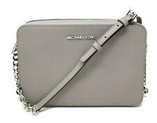 Michael Kors Saffiano Leather Jet Set Large EW Crossbody Bag Pearl Grey