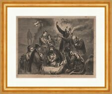The Waldensians Wood Engraving Religion Church Worship devout pray Sect P 0261