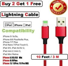 10Ft/3M USB Braided Cable For iPhone X Xs Max 11 Pro 11 8 7 6 Sync Charger Cord