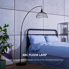 """69"""" Arc Standing Lamp Modern Curved Floor Lamp w Cage Shade & Foot Switch Black"""