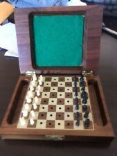 Vintage Drueke 'Play A Way' Travel Chess Set No. 300 in Wood Box with Latch
