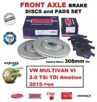 FOR VW MULTIVAN 2.0 TSi TDi 4motion 2015->on FRONT AXLE BRAKE PADS + DISCS 308mm