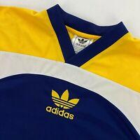 VTG Adidas Trefoil Men's Soccer Jersey Blue Gold Stripes • Large