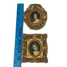 Vintage Miniature Framed Painting Pair Victorian Woman Ornate Italy Gold