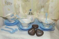 VTG BARBIE SKY BLUE CHILD SIZE  SERVING TEA W/ TRAY SET ,WINE GLASSES  pretend