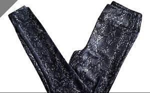 LuLaRoe LUXE Black Silver Snakeskin Faux Leather Leggings NWT - XS
