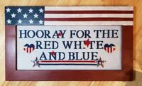 Completed Needlepoint Framed - Flag, Patriotic, Americana, Red, White, Blue