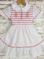 Vintage Girls Polly Flinders Red Dotted Hand Smocked Dress Puffy Sleeves 5